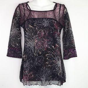ANAC black purple floral mesh top